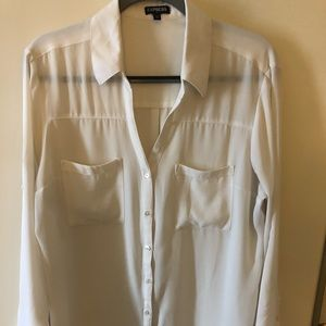 Express white button down shirt